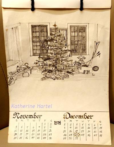 December 4 ~ Flashback Friday: December 1973 Calendar Drawing